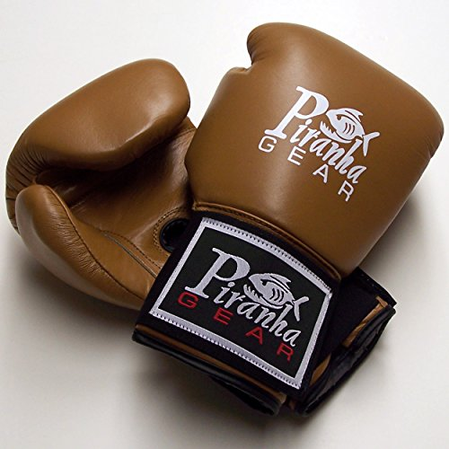 Piranha Gear 16 oz Leather Boxing Gloves, Tan (Piranha Gear Tie compare prices)