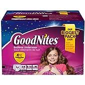 GoodNites Bedtime Underwear - Size 8-14 Girls, 44 ct. おねしょパンツ L-XLサイズ 対応 27キロ~57キロ 44枚 女の子用 《並行輸入》