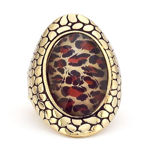 Gold Ring With Leopard Print Center Stone