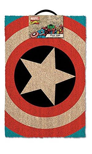 Zerbino, motivo: scudo di Capitan America, dimensioni: 60 x 40 cm, in fibra di cocco/PVC