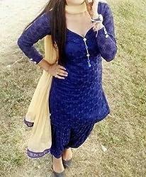 KHAZANAKART WOMENS BLUE GEORGETTE EXCLUSIVE DESIGNER DRESS MATERIALS
