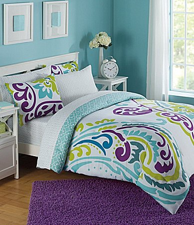 Studio D Scrolls Maisie Purple Aqua Teal 5 Piece Twin Comforter Set front-963772