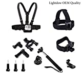 Lightdow OEM Pro Accessory Kit Amateur - Prosumer - Professional Sports Camera Accessories Bundle for LD4000 LD6000 LD 4K Go Pro Gopro Camera (Amateur Bundle)