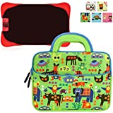 Evecase Neoprene Sleeve Protective Case Compatible with Nabi Jr. , Cute Animal Themed Neoprene Travel Carrying Slim Sleeve Case Bag w/ Dual Handle and Accessory Pocket - Green w/ Blue Trim