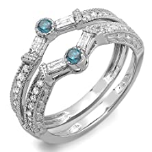 buy 0.55 Carat (Ctw) 14K White Gold Round & Baguette White & Blue Diamond Ladies Anniversary Wedding Enhancer Guard Band 1/2 Ct (Size 7)