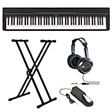 Yamaha P Series P35B 88-Key Digital Piano in Black with Double X-Style Keyboard Stand, JVC Full Size Stereo Headphones and Piano Style Sustain Pedal