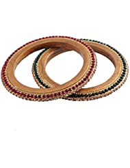 Ridhi Sidhi Collection Maroon,Green-Color Brass Alloy Bangle Set For Women [RSC-203-P]
