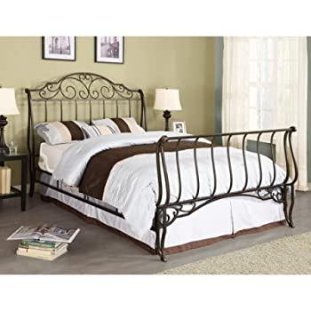 Adison Sleigh Full Metal Bed, Brushed Gold