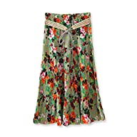 Women's Bohemian floral pleated flax…