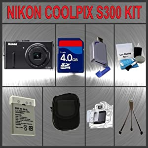 Nikon Coolpix P300 Digital Camera + Huge Accessories Package Including 4GB SDHC Memory Card + EN-EL12 Extra Replacement Li-ion Battery Pack + Hi-Speed SD Card Reader + Carrying Case + Table Top Tripod + Lens Cleaning Kit + LCD Screen Protectors Kit