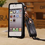Foxnovo® Ultrathin Soft PU Protective Back Case Cover with Neck Strap for iPhone 4S 4 (Black)