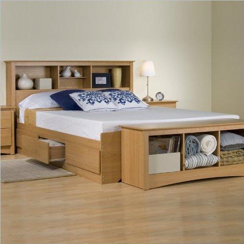Platform Storage Bed W Bookcase Headboard Maplefull Cheap