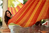 Thick Cord Mayan Hammock XXL TEQUILA COLOR (Red Orange and Yellow) in COTTON