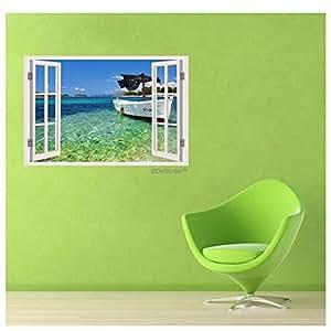 DeStudio Incedible Nature Beauty Windows Illusion Wall Sticker As Shown