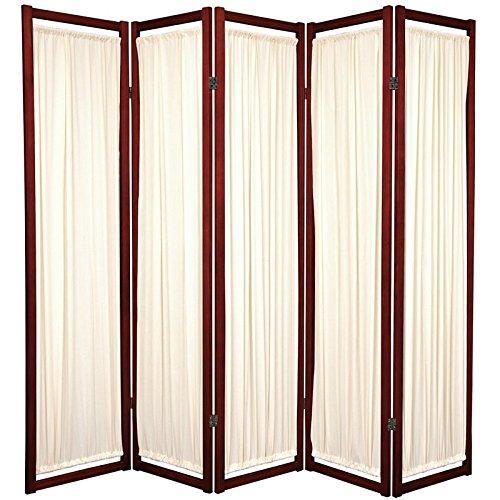 Oriental Furniture Modern Furniture, 6-Feet Helsinki Fabric Japanese Screen Room Divider, 5 Panel Rosewood