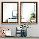 Elegant Arts & Frames Metallic Dark Brown Wall Decorative 18 Inch X 24 Inch Wooden Mirror 18 Inch X 24 Inch