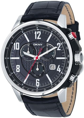 DKNY Men's NY1325 Black Leather Quartz Watch with Black Dial