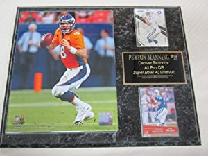 Peyton Manning Denver Broncos 2 Card Collector Plaque w 8x10 Action Photo by J & C Baseball Clubhouse
