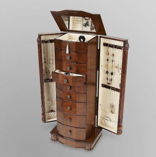 Louis Vuitton Large Floor Standing 8 Drawer Wooden Jewelry Armoire with Mirror & Lock - Walnut Finish