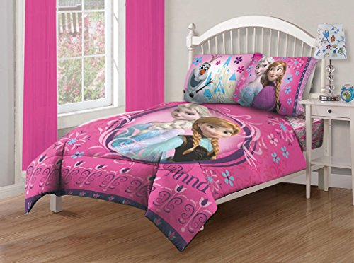 Disney Frozen Nordic Florals Comforter Set with Fitted Sheet, Full (Kid Bedding Full compare prices)