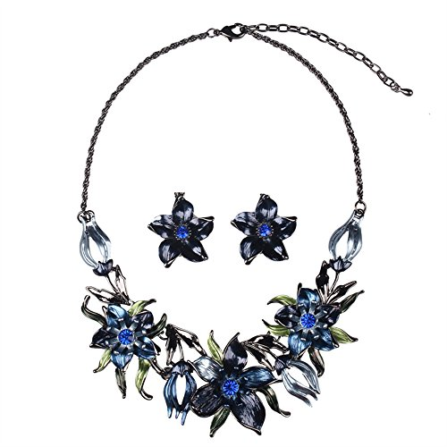 [SDLM Blooming Bauhinia With Shining Crystal Bridal Prom Alloy Necklace Earrings Jewelry Set(b)] (Sports Day Costume Ideas Blue)