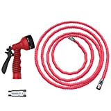 Expandable 50 Foot Garden Water Hose By Casa Felice - Heavy Duty Double Layer Latex Fabric Core - Corrosion Resistant, Leak-Proof Nickel Alloy Fittings - Lightweight, Retractable, Tangle-Free Design