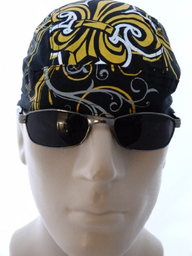 Fleur De Lis Black Bikers Cap/ Medical Cap/ Skull Cap/ Du Doo Rag, Similar to the New Orleans Saints Emblem/Logo Sports Fan Motorcycle Hat, Louisville, KY Canada Cap City Cities Fleur De Lis, Fluer