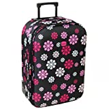 Karabar Large 30 Inch Lightweight Expandable Suitcase - 3 Years Warranty! (Daisy Black)