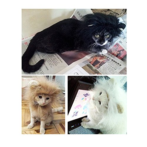 Liquor Pet Costume Lion Mane Wig with Ears Dog Cat Clothes Fancy Dress up black size S