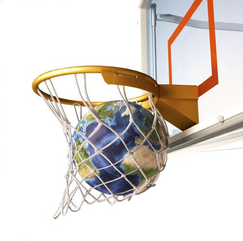 3D Rendering of Planet Earth Falling into a Basketball Hoop Wall Decal - 24 Inches W x 24 Inches H - Peel and Stick Removable Graphic