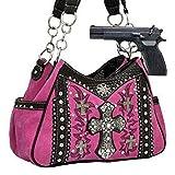 Pink Western Cross Rhinestone Concealed Carry Handbag