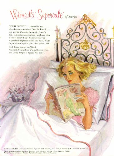 Wamsutta Percale Sheets Ad 1958 Pin-Up Blonde Negligee In Round Bed front-1022695