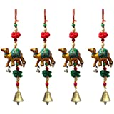 Door Hanging Golden Camel With Wooden Beads Pumpum And Metal Bell Set Of 4 By Handicrafts Paradise