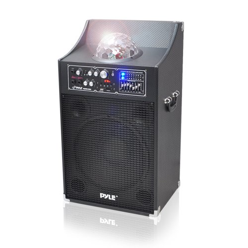 Pyle Psufm1230A 1000 Watt Powered 2-Way Speaker System With Usb/Sd Readers, Fm Radio, Aux And Mic Inputs And Flashing Dj Lights