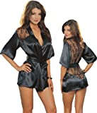 51Q2z5XDRAL. SL160  Sexy Black Kimono Intimate Sleepwear Robe Set   3 Piece Lingerie   Small
