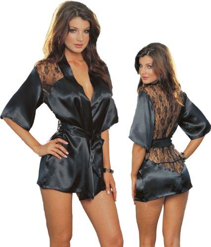 Sexy Black Kimono Intimate Sleepwear Robe Set – 3 Piece Lingerie – Large