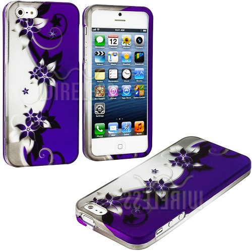 Mylife (Tm) Abstract Purple + White Flowers And Vines Series (2 Piece Snap On) Hardshell Plates Case For The Iphone 5/5S (5G) 5Th Generation Touch Phone (Clip Fitted Front And Back Solid Cover Case + Rubberized Tough Armor Skin + Lifetime Warranty + Seale