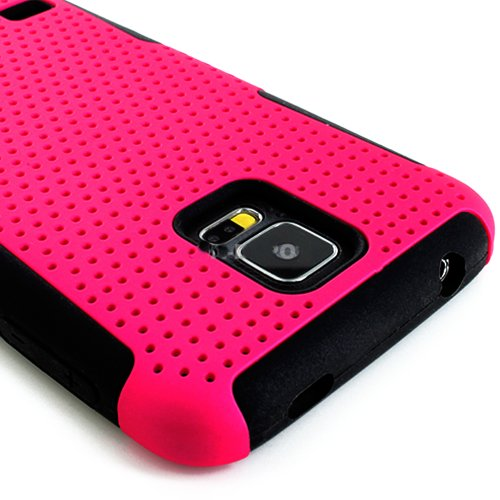 Mylife (Tm) Vibrant Bubblegum Pink And Charcoal Black - Perforated Mesh Series (2 Layer Neo Hybrid) Slim Armor Case For The New Galaxy S5 (5G) Smartphone By Samsung (External Rubberized Hard Shell Mesh Piece + Internal Soft Silicone Flexible Gel + Lifetim