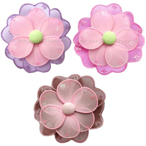 Hailey Daisy Flowers Decor 3 piece Flower Set (Pink / Purple / Green, Dark Pink / Green / Pink, Brown / Pink) - hanging nylon nursery bedroom girls room ceiling wall decor, wedding birthday party baby bridal shower