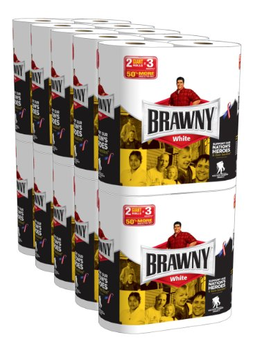 Brawny Giant Rolls White, 2 Rolls, Pack Of 10 (20 Rolls) (Packaging May Vary) front-694651