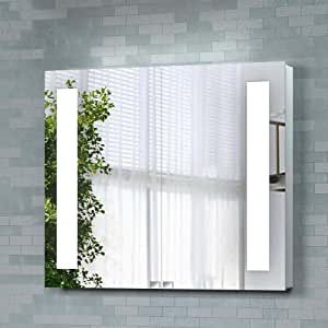mounted luxury 670 x 780mm backlit illuminated bathroom mirror cabinet