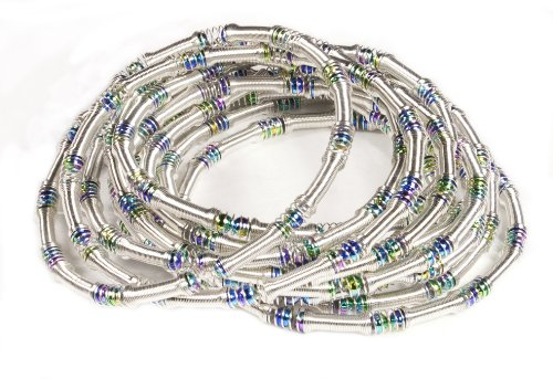 Piano Wire Eternity Bracelets - Set of 12 Strands - Silver