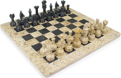 Classic Coral Stone & Black Marble Chess Set - 3
