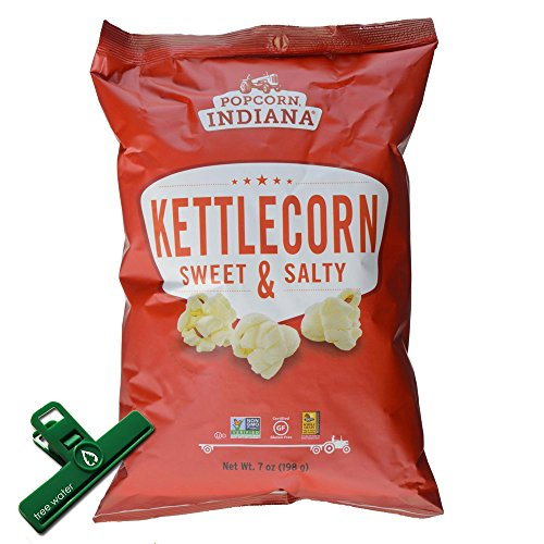 Popcorn Indiana Kettlecorn Sweet and Salty Popcorn, 7 Oz, Large Size Bag, Includes Chip Bag Clip (Popcorn Indiana Popcorn Chips compare prices)