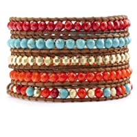 Chan Luu Neon Orange Mix Wrap Bracelet on Natural Brown Leather