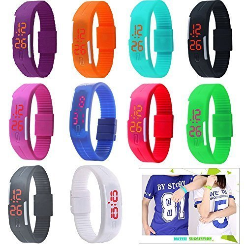 Yunanwa 10 Pack Wholesale Silicone Rubber Gel Jelly Unisex LED Wrist Watch Bracelet Geneva's Men Women (Silicone Jelly Watch For Men compare prices)