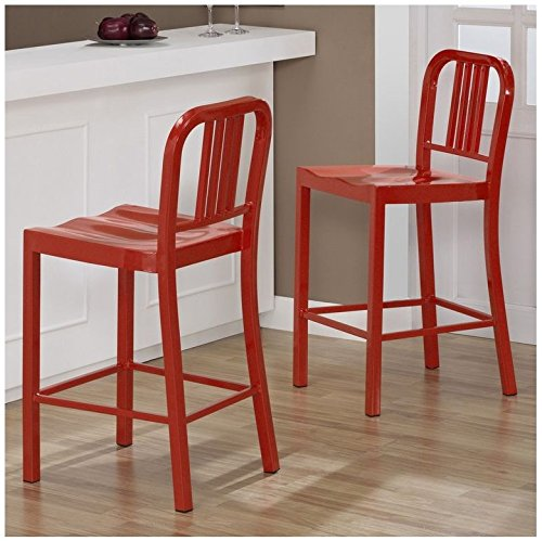 Set Of 2 Red Navy Style Metal Counter Stools In Glossy Powder Coated Finish Steel Dining Indoor.