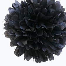 E instrucciones para hacer vestidos My Cupcake 35,56 cm negro de papel de seda pompones decorativos, juego de 4 - negro decorativos para fiestas infantiles, para colgar Wedding Supplies