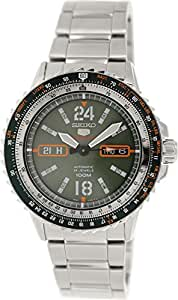 Seiko Men's SRP349 Silver Stainless-Steel Automatic Watch with Green Dial