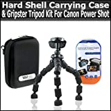 Hard Shell Carrying Case & Gripster Flexible Tripod Kit For Canon Powershot S90 S90 IS Digital Camera Includes Free Pack Of LCD Screen Protectors